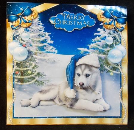 Husky Christmas Cards.Christmas Husky Puppy In The Snow Mini Kit