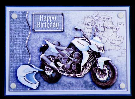 Pale Blue Motorbike Decoupage Birthday Photo by Suzi Cooper – Motorbike Birthday Cards