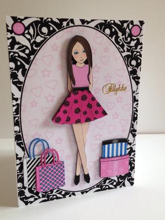 Teen Girl Brunette Boxes Bags In Hot Pink A5 Decoupage Photo By