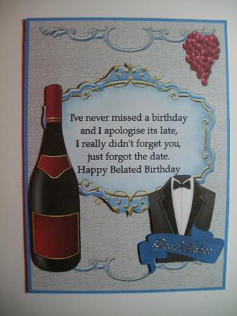 Belated Male Card Cup511497695 Craftsuprint