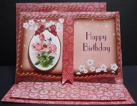 Pink Roses Happy Birthday 3D Easel Book Kit CUP36226910 – Happy Birthday Card 3d