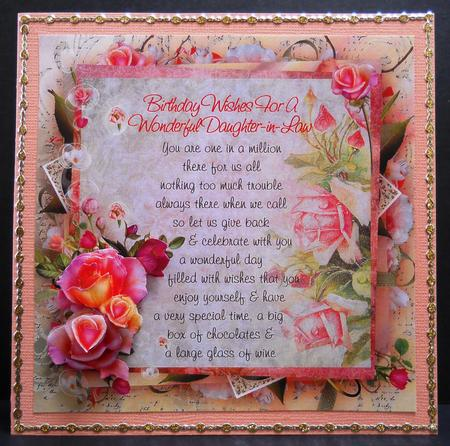 Pink Rose Daughter In Law Birthday Verse 8x8in Step By