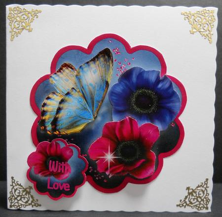 Origami Flowers Scallop Edge Wobble Card in Pink