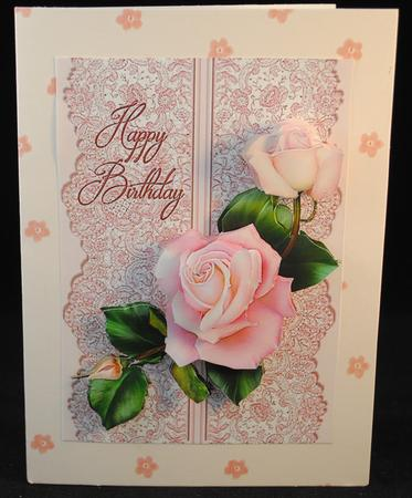 Birthday by Judith Flavel Roses on Lace Cream on Blue