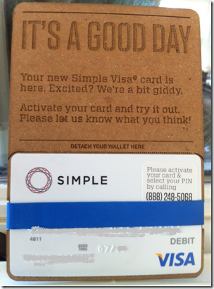 Bank Simple Innovations #3 and #4: Debit Card Mailer - Finovate
