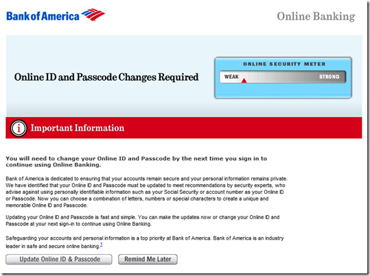 bank of america change number
