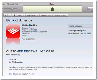 Bank of America iPhone Mobile Banking App Criticized in