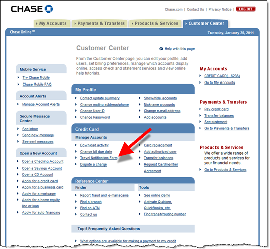 Chase Customer Service International Travel