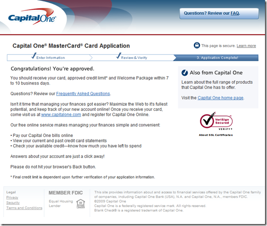 Credit One Application >> Capital One Encourages Online Applications In Direct Mail