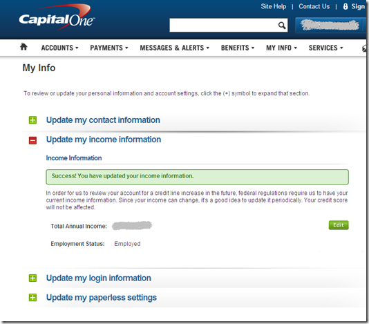 Capital One Uses Email To Request Cardholder Income Update
