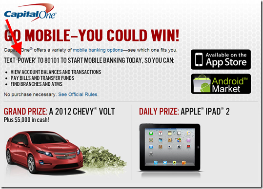 Capital One Driving Mobile Use with Sweepstakes - Finovate