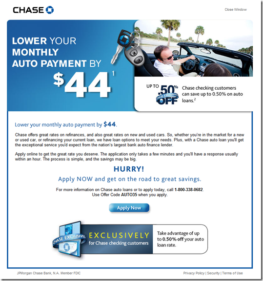 Chase Bank Offers to Lower Auto Payments by $44 - Finovate