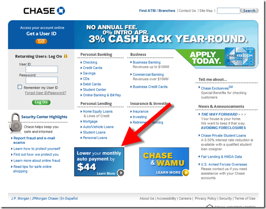 Chase Bank Offers To Lower Auto Payments By $44