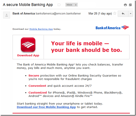 Out of the Inbox: Mobile Banking Marketing Messages from