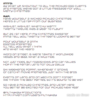 Writing a rap song lyrics