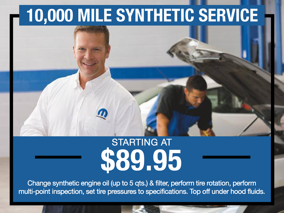 10,000 Mile Synthetic Service Coupon From I-5 Chrysler Dodge Jeep Ram Fiat