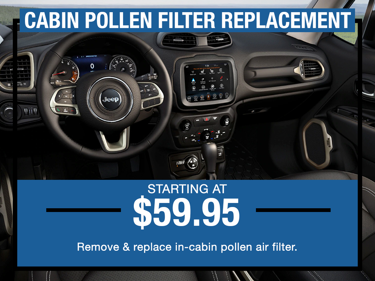 Cabin Pollen Filter Replacement Service Special I-5 Chrysler Dodge Jeep RAM Chehalis, WA