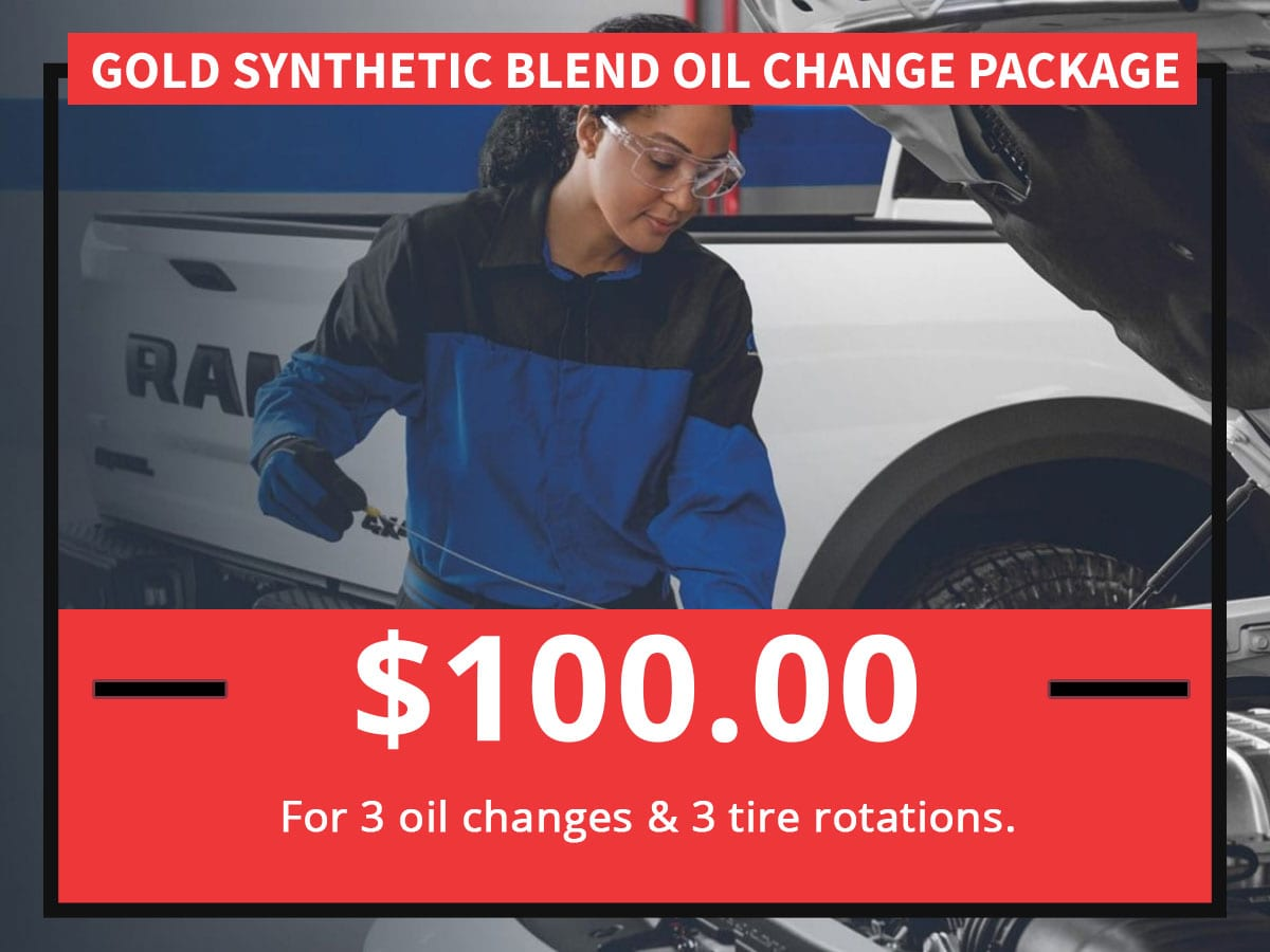 Gold Synthetic Blend Oil Change Package Special