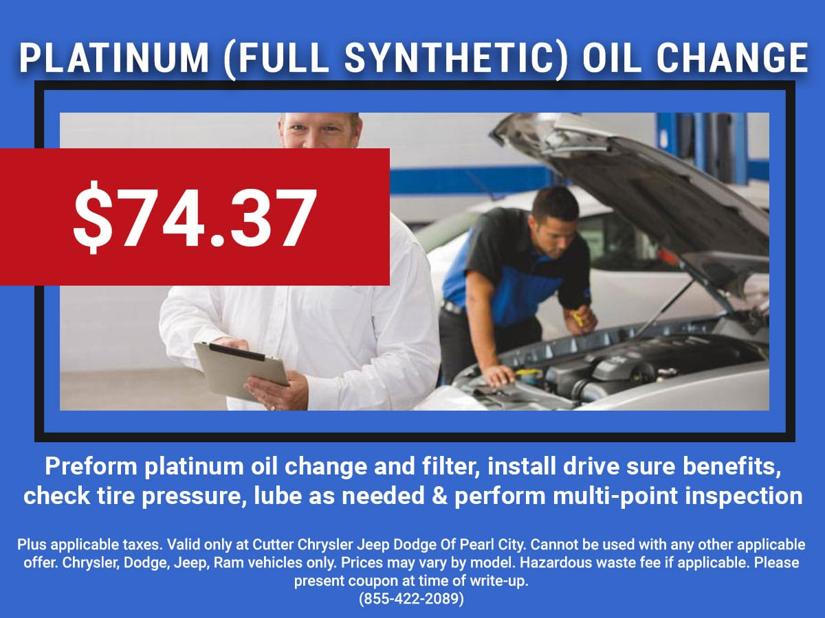 Pearl City CDJR Platinum Oil Change & Multi-Point Inspection Coupon