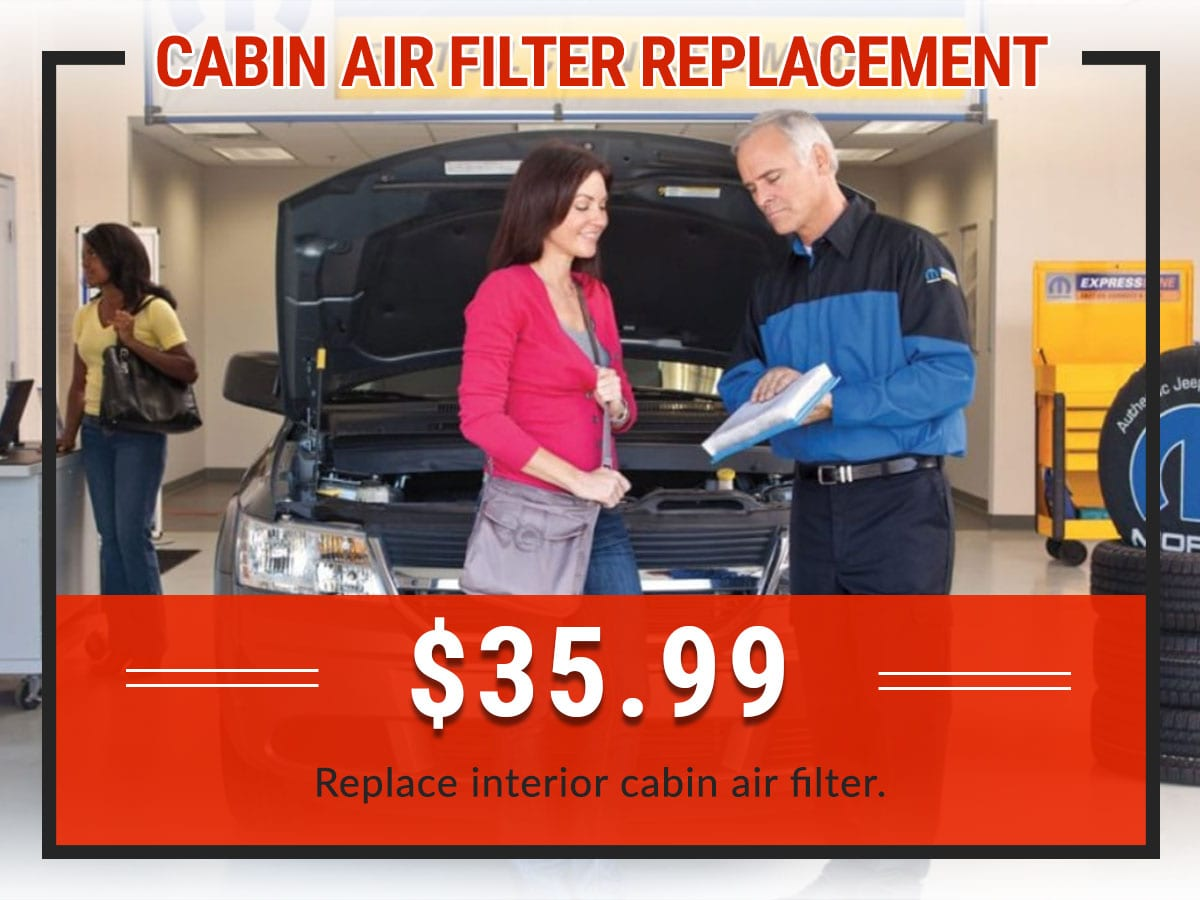 Cabin Air Filter Replacement Service Coupon