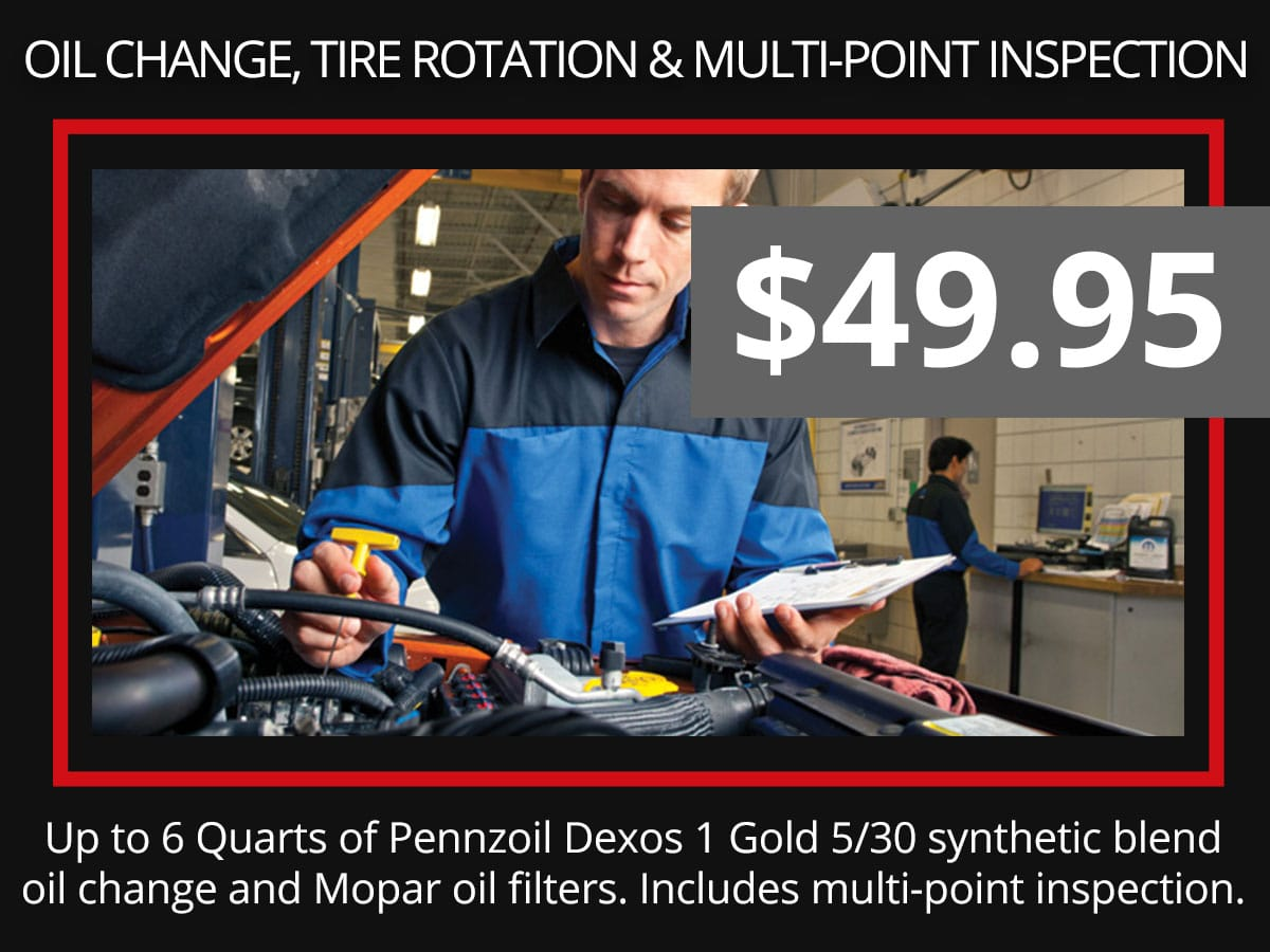 Synthetic Blend Oil Change, Tire Rotation & Multi-Point Inspection Coupon