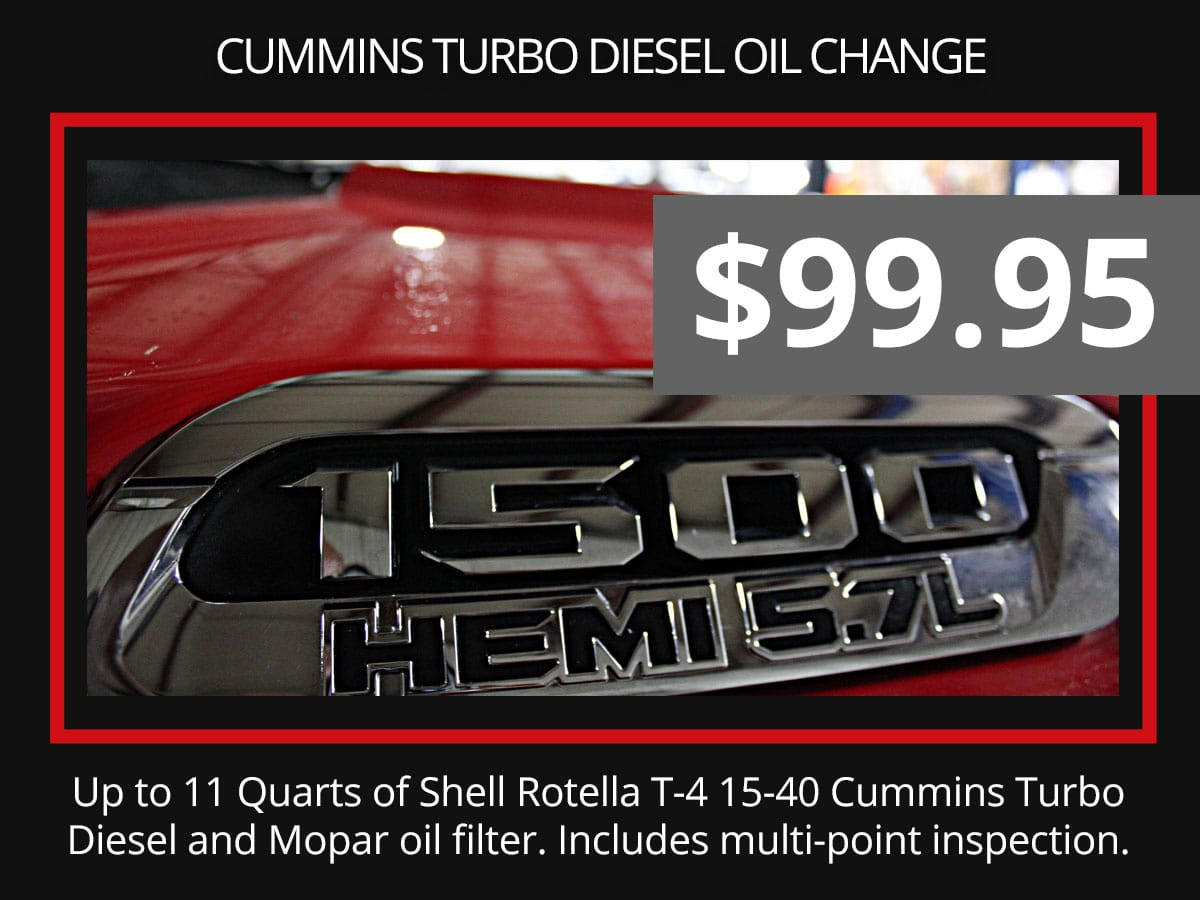 Cummins Turbo Diesel Oil Change Coupon
