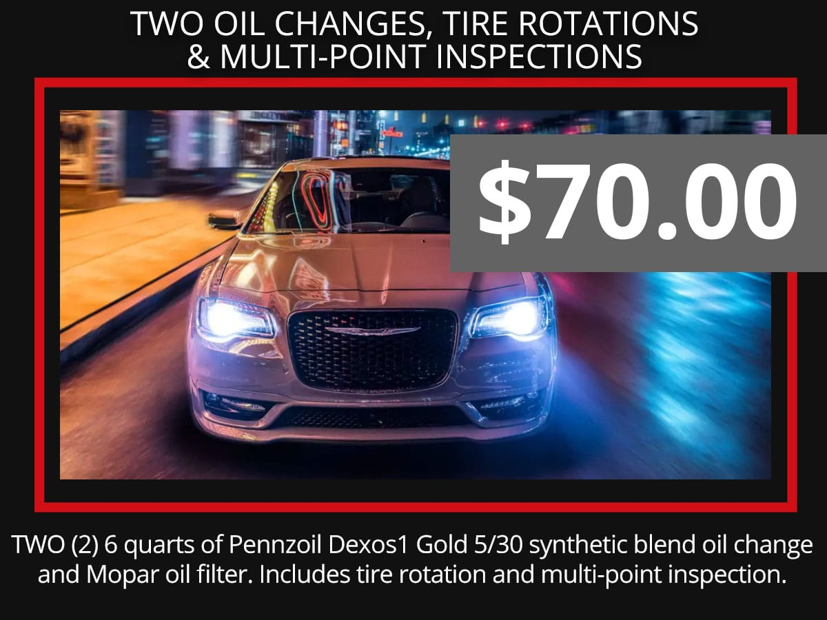 Two Synthetic Blend Oil Change, Tire Rotation & Multi-Point Inspection Coupon