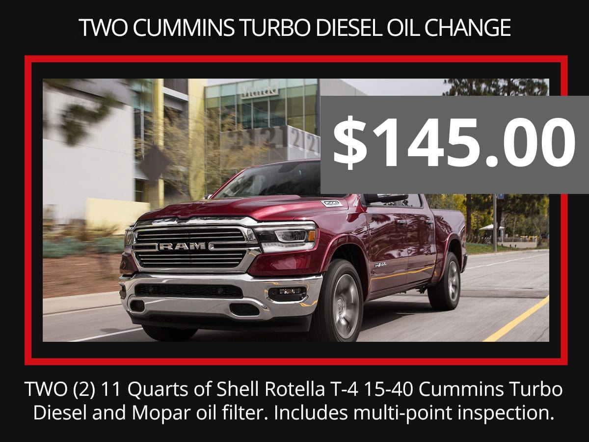2 Cummins Diesel Oil Change Special Coupon