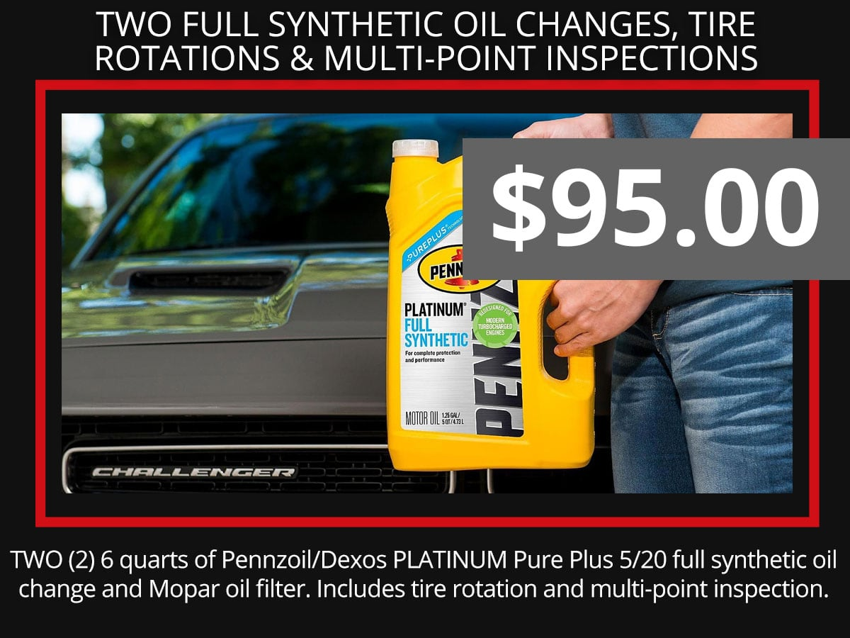 2 Full Synthetic Oil Change, Oil Filter & Multi-Point Inspection Coupon