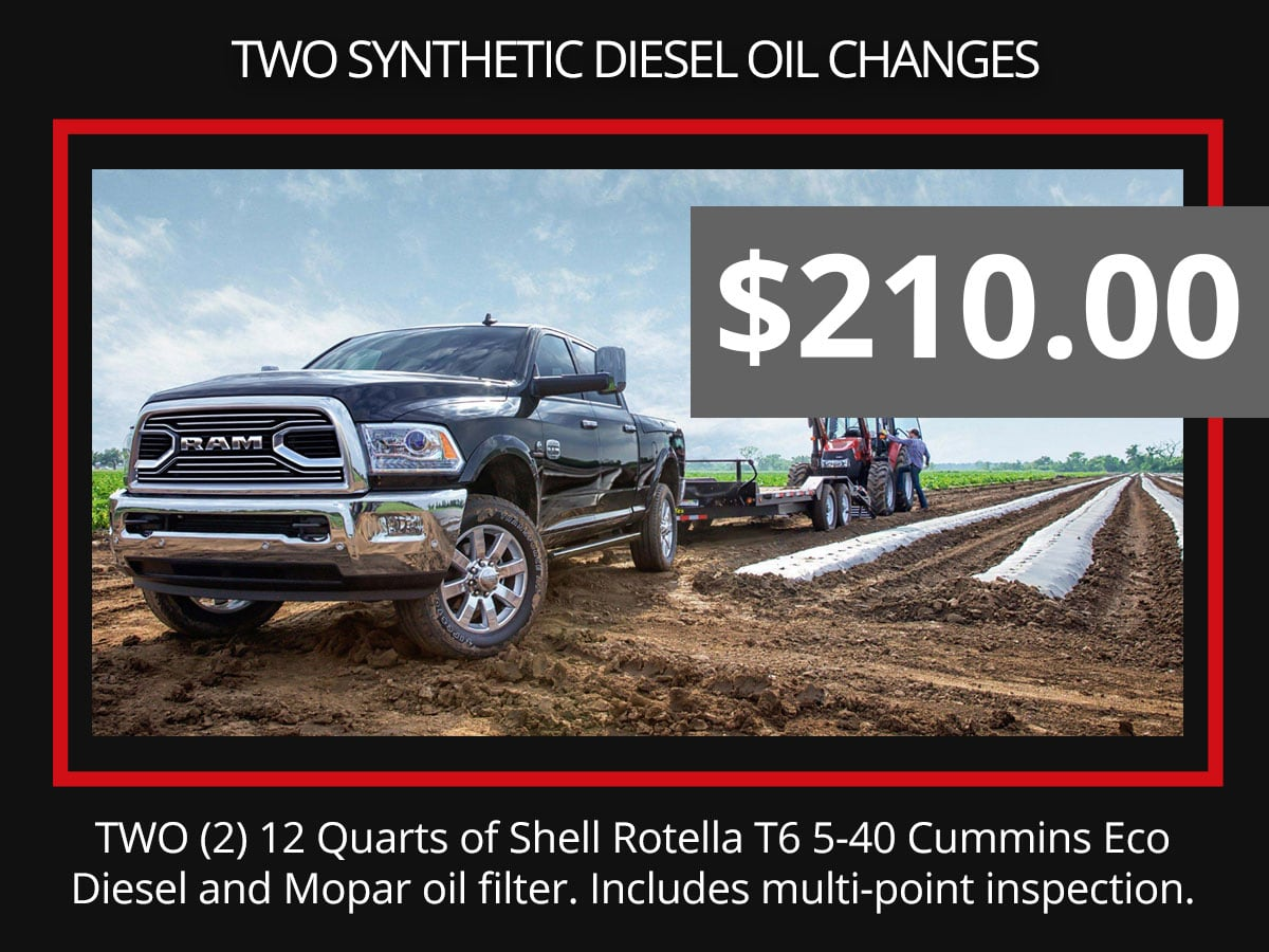 Two Synthetic Diesel Oil Change Service Special Coupon