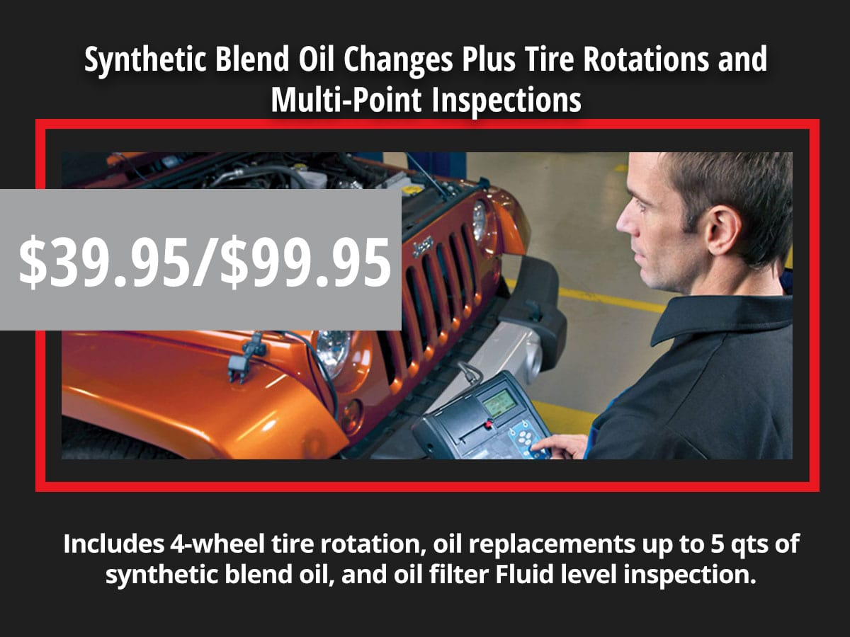 Synthetic Blend Oil Changes Plus Tire Rotations and Multi-Point Inspections