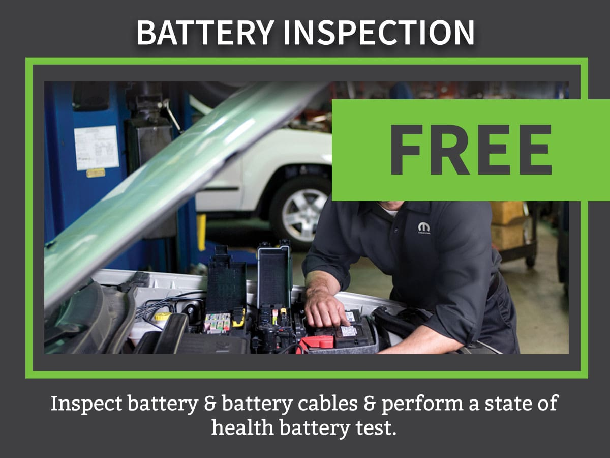 Mopar CDJR Battery Inspection & Testing Service Coupon Discount Special