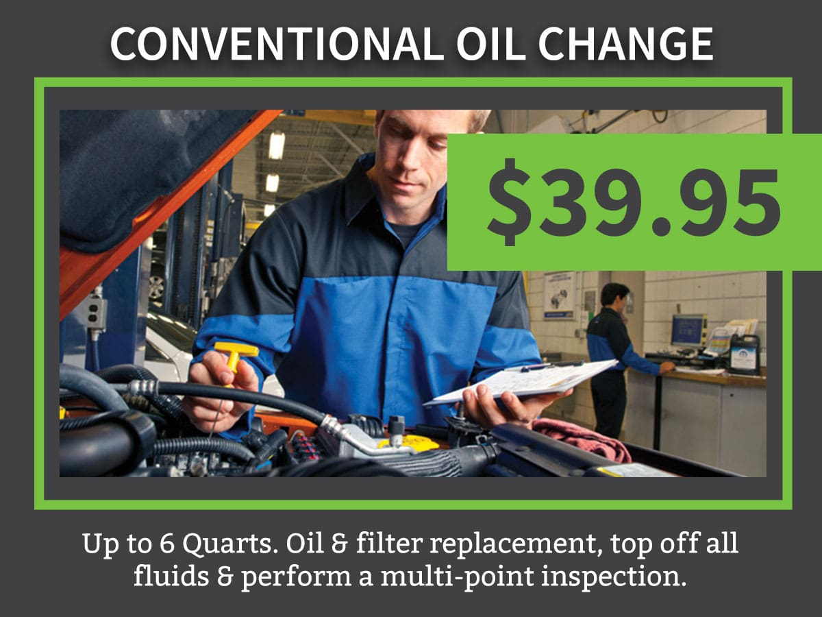 Mopar CDJR Conventional Car Oil Change Coupon Discount Special