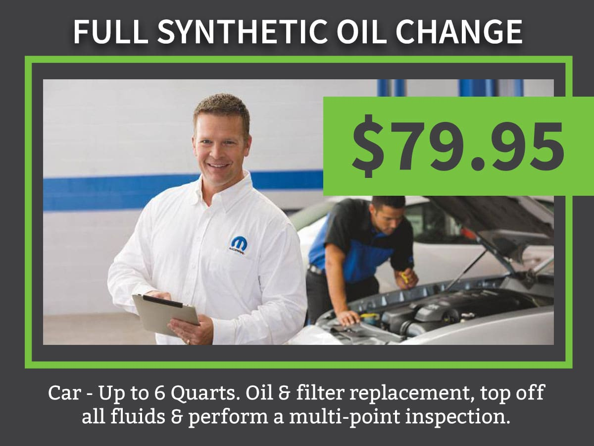Mopar CDJR Synthetic Car Oil Change Coupon Discount Special