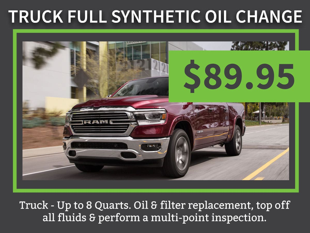 Truck Full Synthetic Oil Change Service Coupon