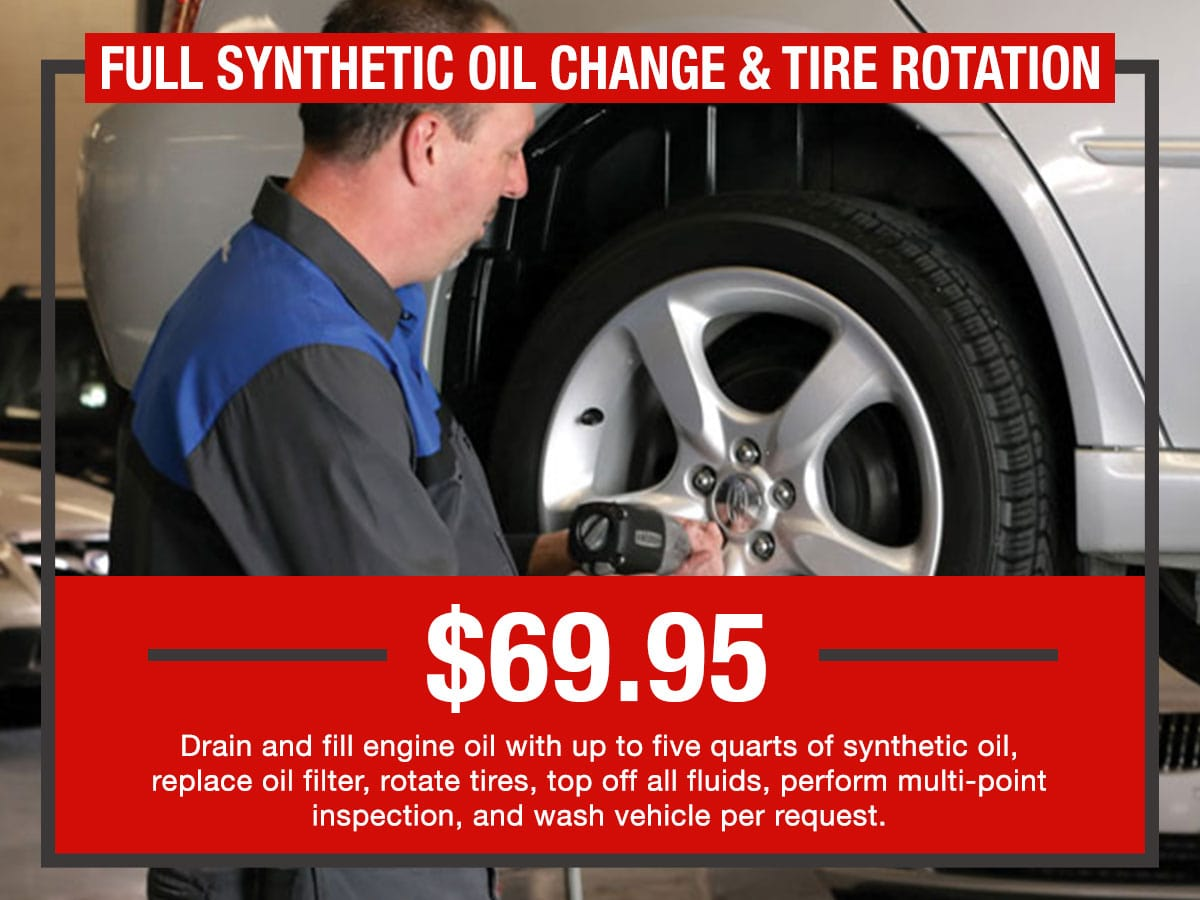 Russ Darrow Full Synthetic Oil Change & Tire Rotation Package Service Special Coupon