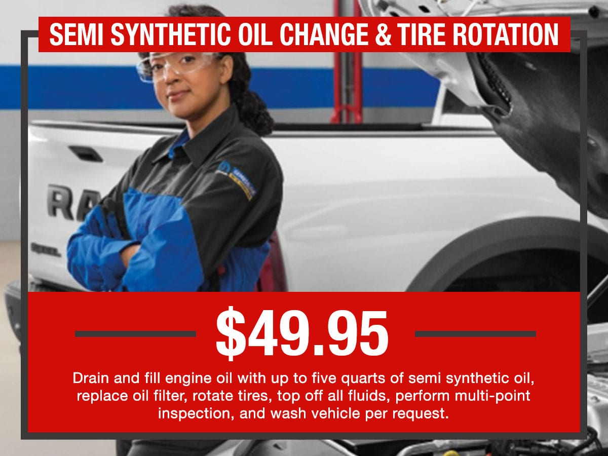 Russ Darrow Semi Synthetic Oil Change & Tire Rotation Package Special Coupon