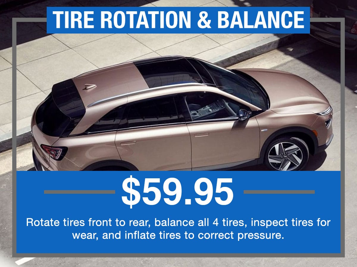 Tire Rotation & Balance Service Special Coupon Hiley Hyundai of Burleson