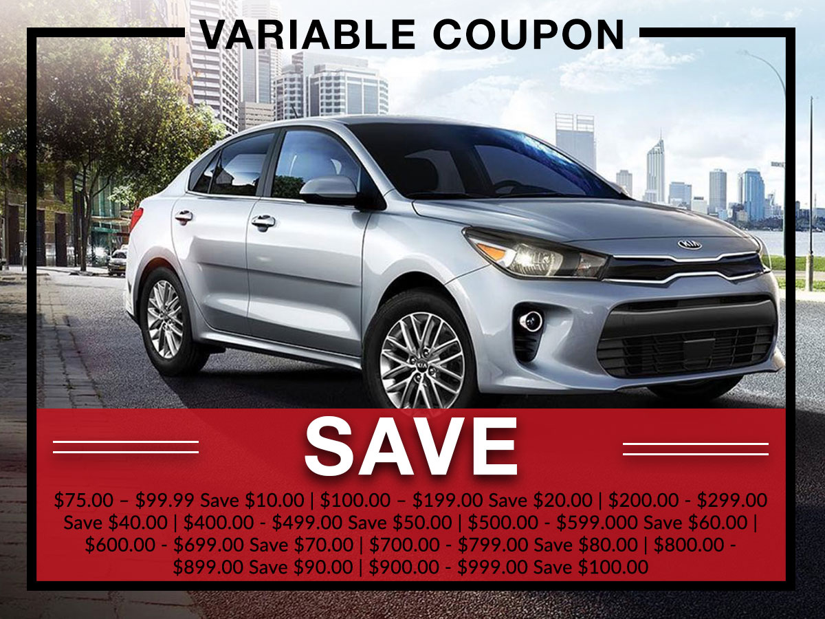 Variable auto service coupon from Briggs Kia