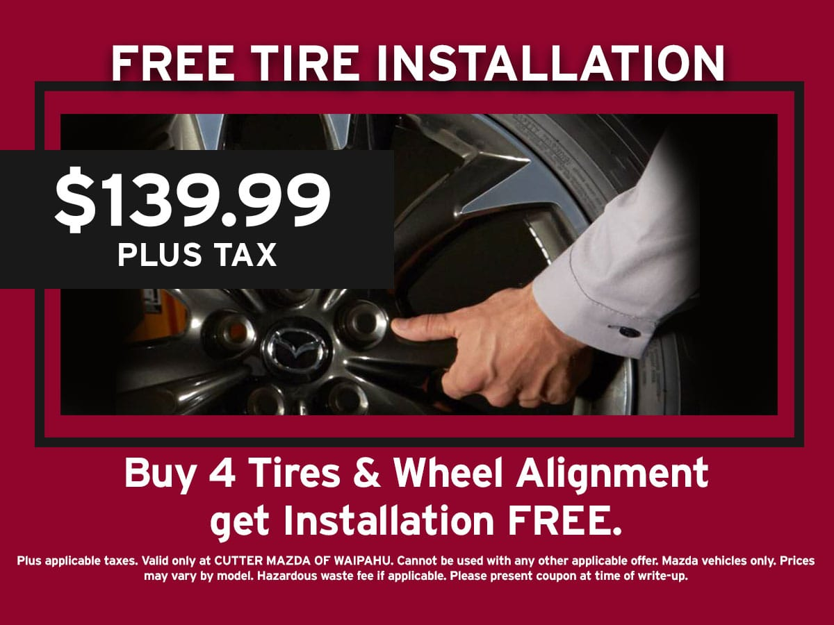 Mazda Free Tire Installation Special Coupon