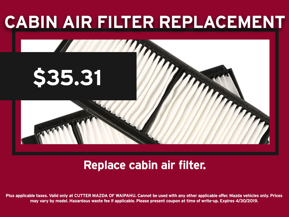 Mazda Cabin Air Filter Replacement Special Coupon