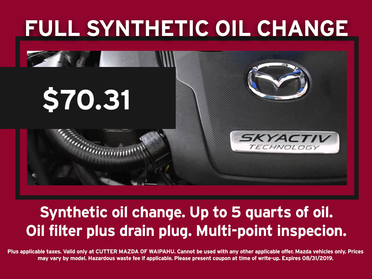 Full Synthetic Oil Change Mazda Special Coupon
