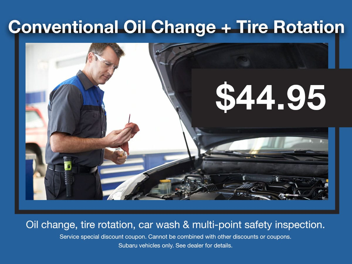 Subaru Conventional Oil Change & Tire Rotation Service Coupon
