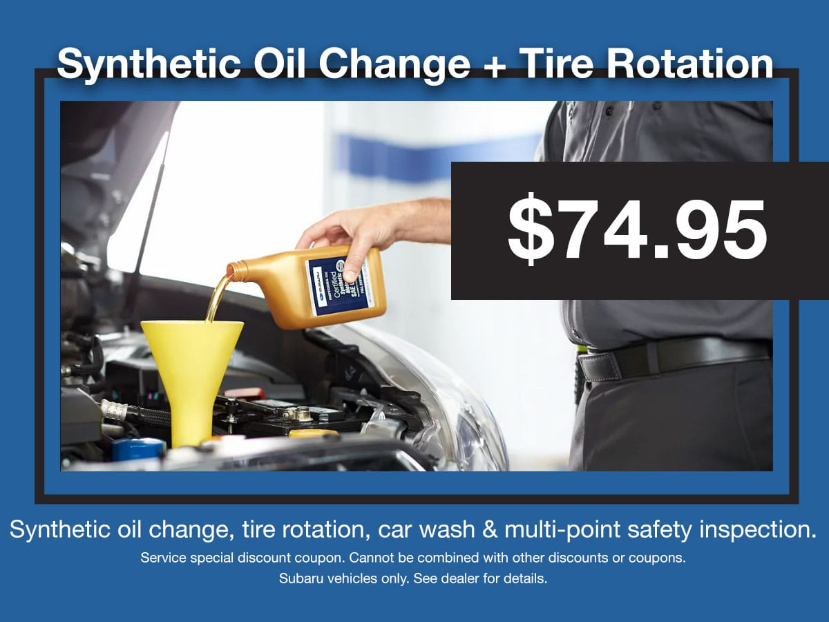 Subaru Synthetic Oil Change & Tire Rotation Coupon