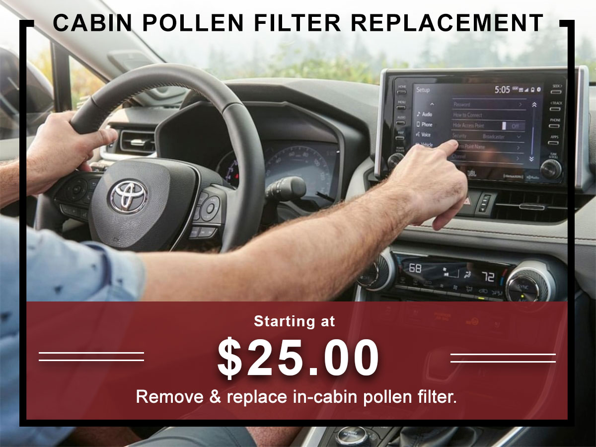I-5 Toyota Service Specials Coupons Cabin Pollen Filter Replacement Service in Chehalis, WA
