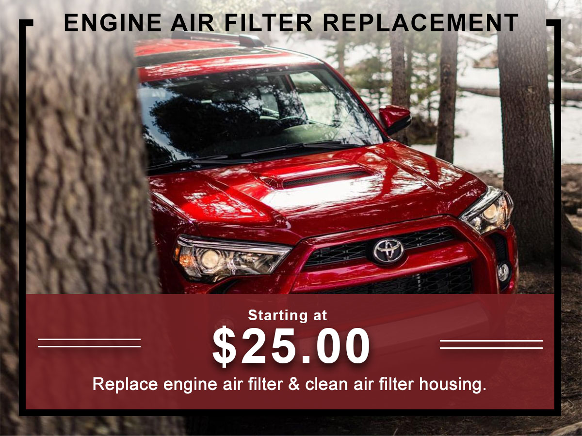 I-5 Toyota Service Specials Coupons Engine Air Filter Service in Chehalis, WA