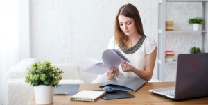 Woman developing a home office strategy