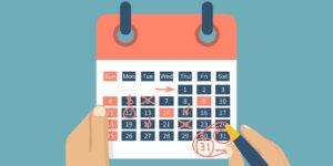 Calendar for compressed workweeks.