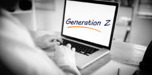 Laptop with the generation z typed on it