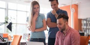 Millennial staffers at work.